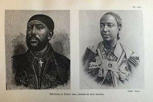 De gauche à droite, le négus Ménélik II et son épouse, l'itégué Taitu Bétul, couple souverain d'Ethiopie au moment de cette bataille